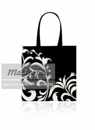 Shopping bag design, floral ornament