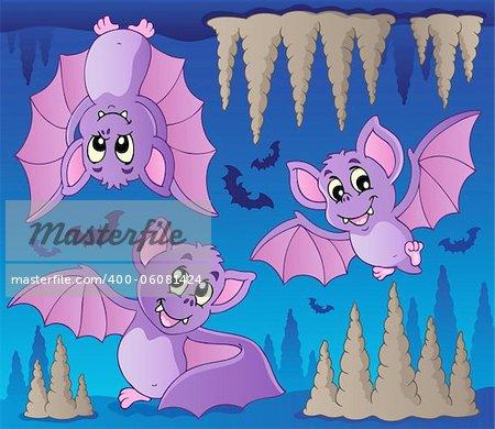 Bats theme image 1 - vector illustration.