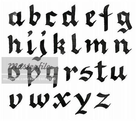 Hand written black ink alphabet