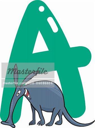 cartoon illustration of A letter for aardvark