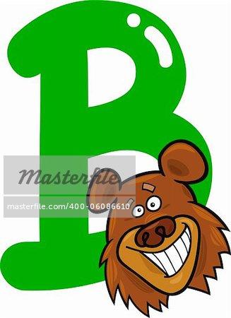 cartoon illustration of B letter for bear
