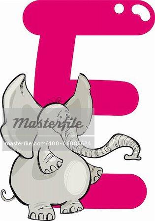 cartoon illustration of E letter for elephant