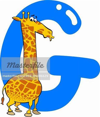 cartoon illustration of G letter for giraffe