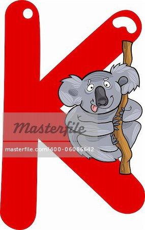 cartoon illustration of K letter for koala