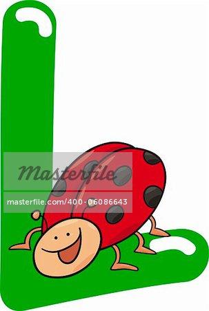 cartoon illustration of L letter for ladybug