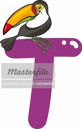 cartoon illustration of T letter for toucan