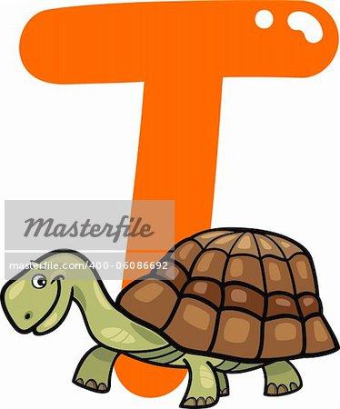 cartoon illustration of T letter for turtle