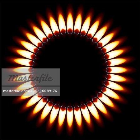 Red Gas Flame. Illustration on black background