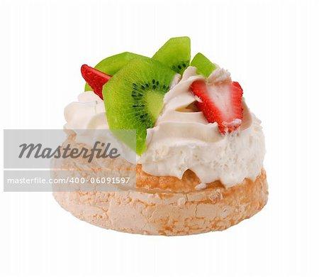 famous Australian Pavlova dessert  with strawberries and kiwi