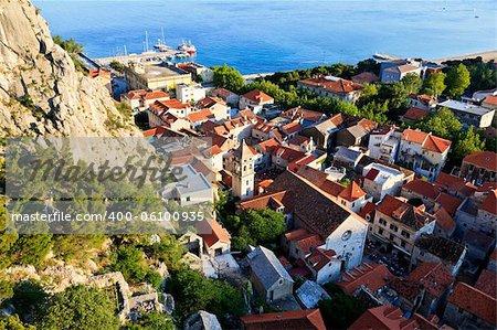 Panoramic View of Omis and Holy Spirit Church, Croatia