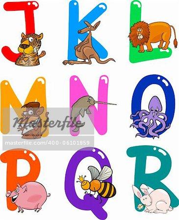 Cartoon Colorful Alphabet Set with Funny Animals