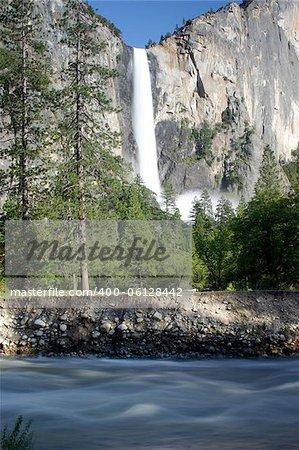 Bridaveil Falls and the Merced River in Yosemite National Park, California, U.S.A.