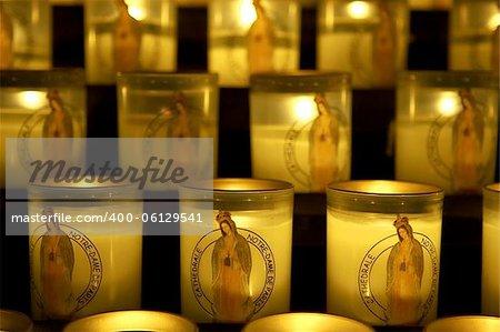 Candles lit as a prayer, Notre dame, cathedral, paris, france