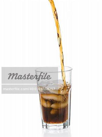 Coke splashing from glass isolated on white background