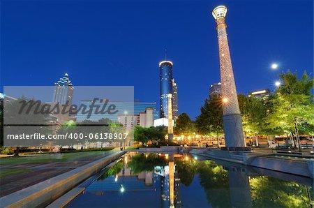 Centennial Olympic Park in Atlanta, GA. The Park was built for the Centennial 1996 Summer Olympics and remains a popular destination.