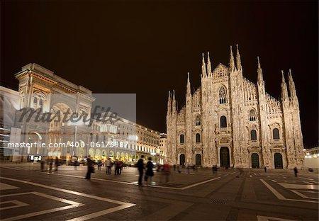 Piazza del Duomo at night, Milan, Italy