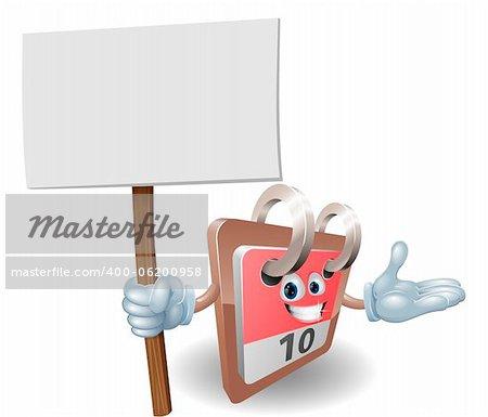 Cute calendar cartoon character holding a sign post