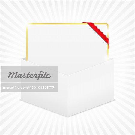 Gift card in cardboard box, vector eps10 illustration