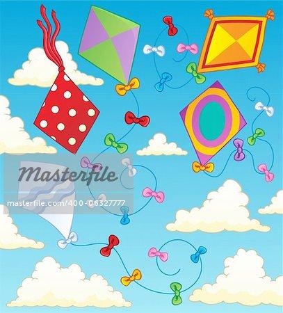 Kites theme image 2 - vector illustration.
