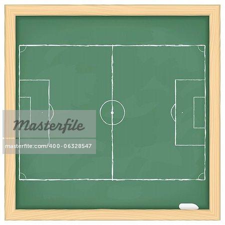 Football field on green blackboard, vector eps10 illustration
