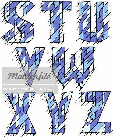 Set of initial letters STUVWXYZ. Color vector illustrations.
