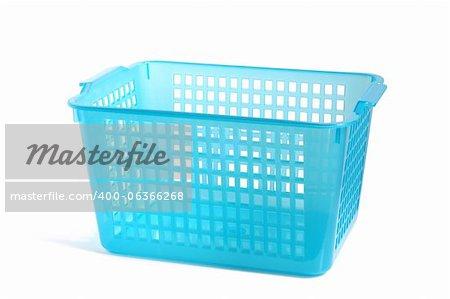 Blue plastic basket on a white background
