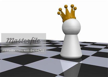 king on chessboard - 3d illustration