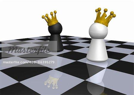 kings on chessboard - 3d illustration