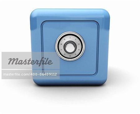 Blue modern safe isolated on white background