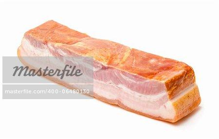 Boiled-Smoked Bacon isolated on white background