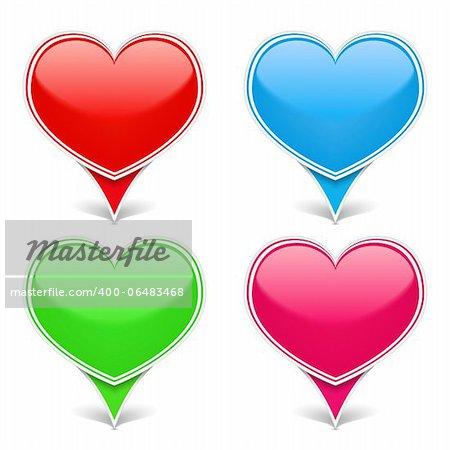 Set of color hearts, vector eps10 illustration