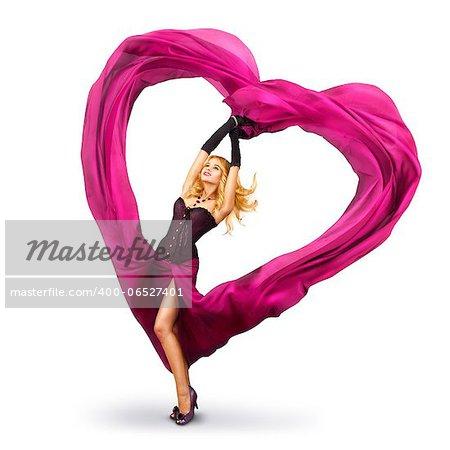 Sexy Beautiful Woman Dancing With Waving Fabric