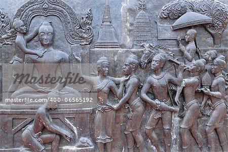 art on metal plate about King Ramkhamhaeng  history ,thailand