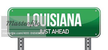 green Louisiana, USA street sign illustration design