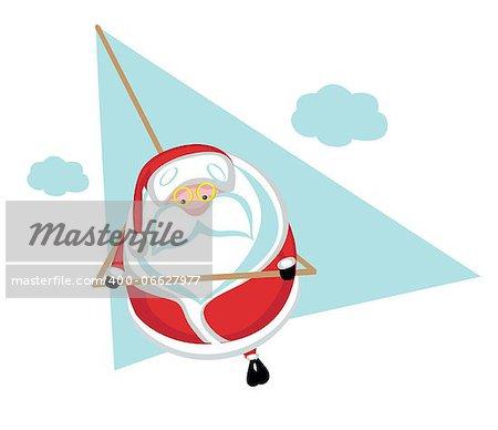 Cartoon  Santa  flying on hang glider .Separate layers