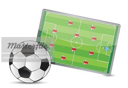 Soccer field tactic table, soccer balls illustration design over white