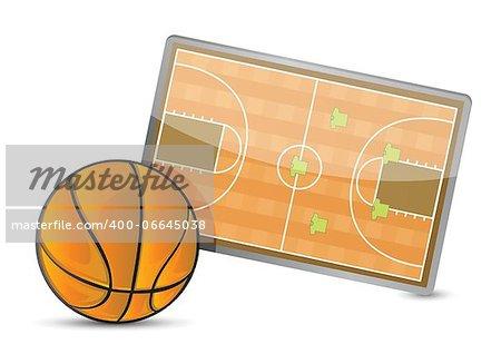 Basketball field tactic table, Basketball balls illustration design over white