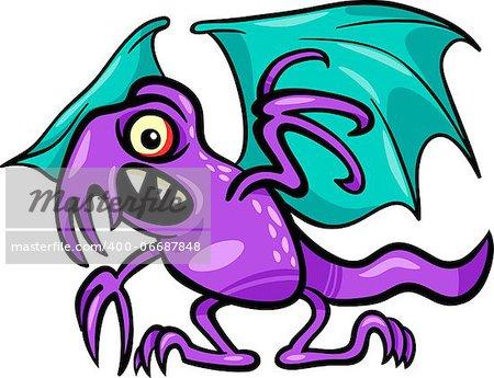 Cartoon Illustration of Scary Basilisk Monster Creature