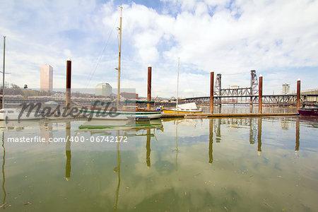 Marina Along Willamette River with Steel Bridge in Portland Oregon
