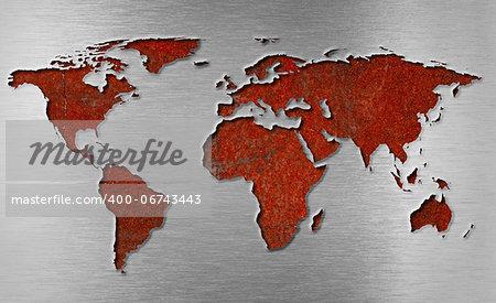 rusty metal world map concept