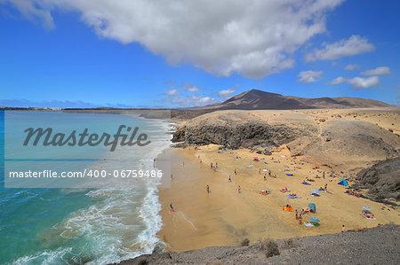 Famous beach on Canary Islands - Lanzarote, Spain. Papagayo Beaches - Playas del Papagayo (Playa de la Cera & del Pozo) in the Monumento Natural de Los Ajaches National Park.