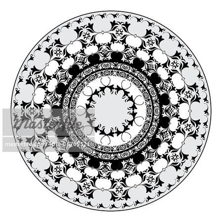 black and whitel circular pattern of elegant oriental studies