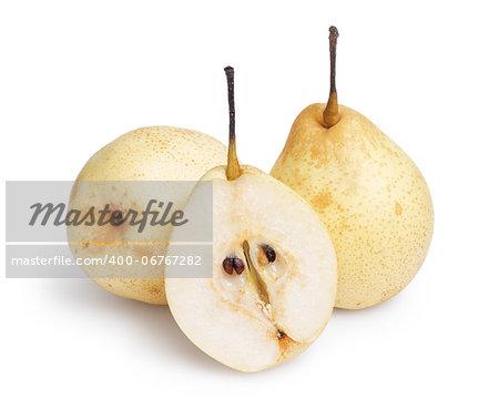 three whole nashi pears, isolated on white background