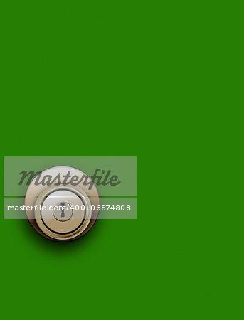 Door knob on green