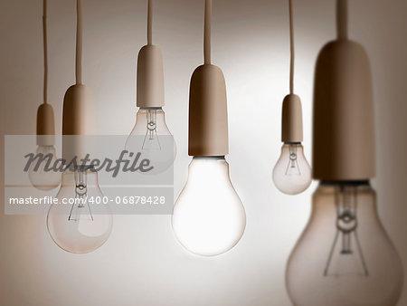 Group of light bulbs hanging