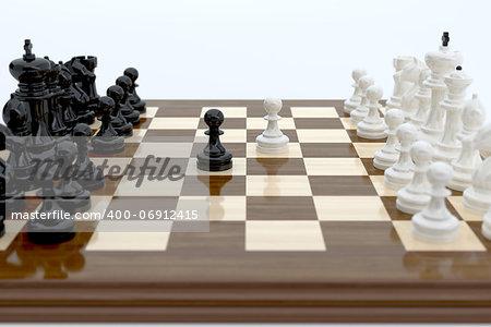 3d illustration of chess over white background