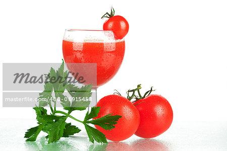 Fresh tomato juice with tomatos and celery