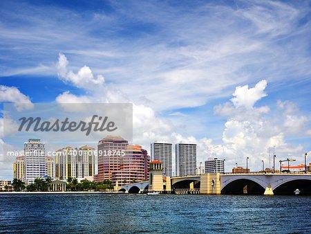 Skyline of downtown West Palm Beach, Florida, USA>