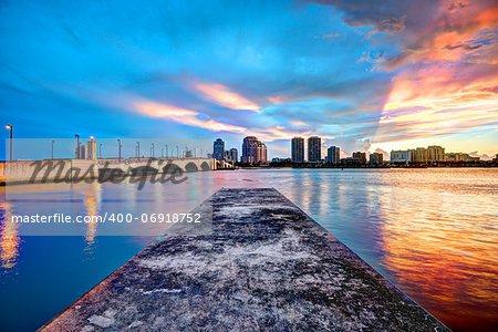 Skyline of downtown West Palm Beach, Florida, USA.