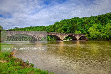 Stone bridge over Cumberland River at Cumberland Falls State Resort in Kentucky